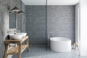 Salle de bain résidentielle grise - Béton poli - Polished concrete